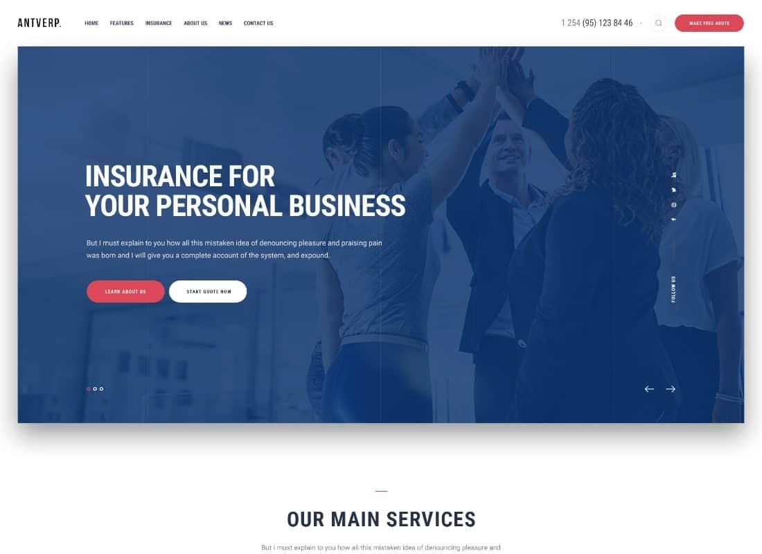 Antverp   An Insurance & Financial Advising WordPress Theme Website Template
