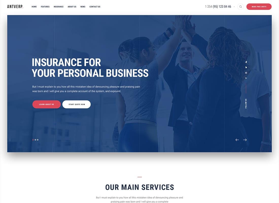 Antverp | An Insurance & Financial Advising WordPress Theme Website Template