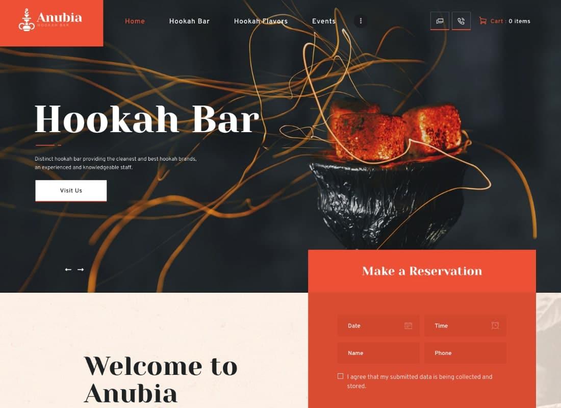 Anubia | Smoking and Hookah Bar WordPress Theme Website Template