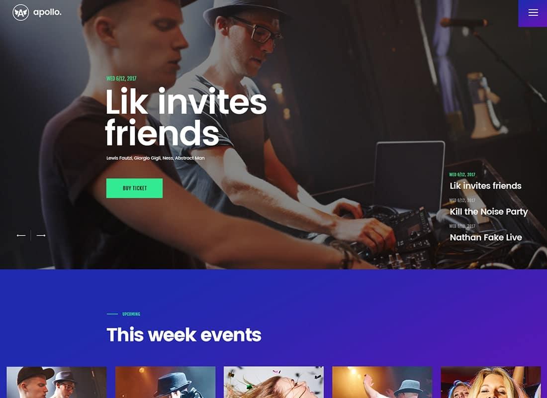 Apollo | Night Club, DJ Concert & Music Event WordPress Theme  Website Template