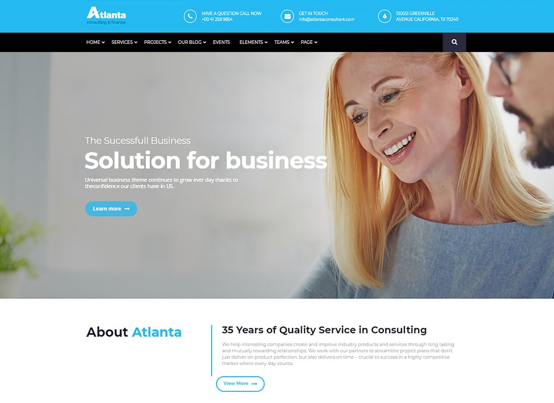 Atlanta - Consulting & Finance WordPress Theme  Website Template