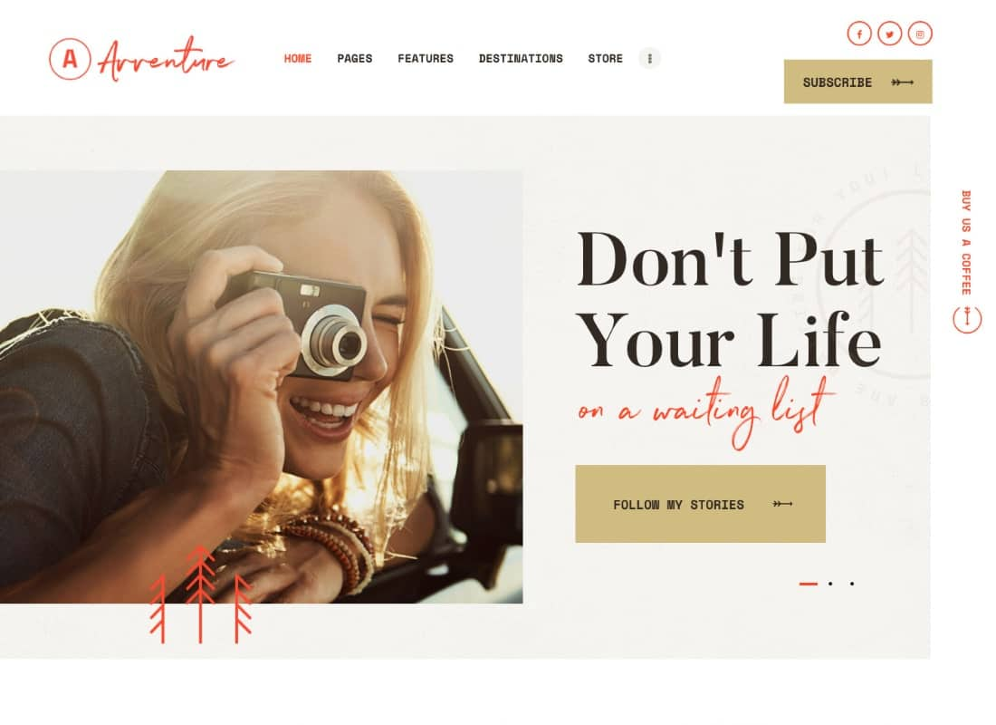 Avventure | Personal Travel & Lifestyle Blog WordPress Theme Website Template