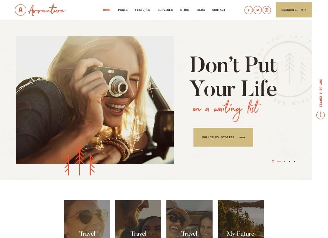 Avventure   Personal Travel & Lifestyle Blog WordPress Theme Website Template