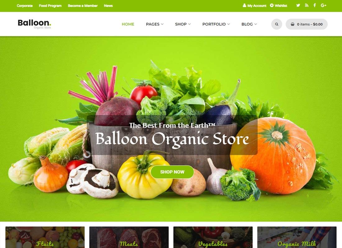 Balloon - Organic Farm & Food Business WordPress Theme   Website Template