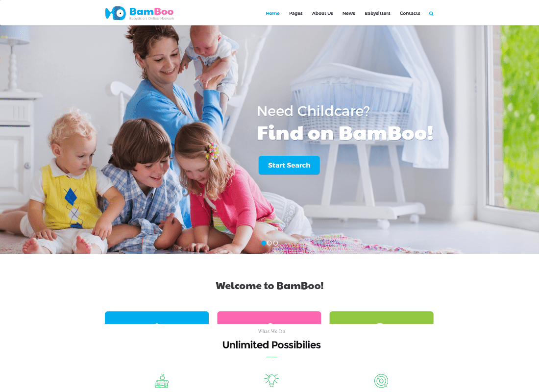 BamBoo - Child Care & Kids Babysitting Children WordPress Theme Website Template