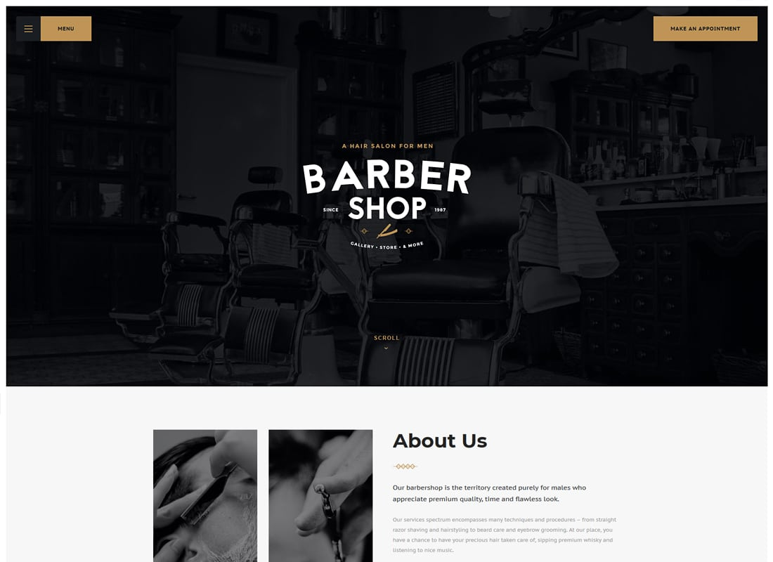 Salon - Barbershop & Tattoo Studio WordPress Theme   Website Template