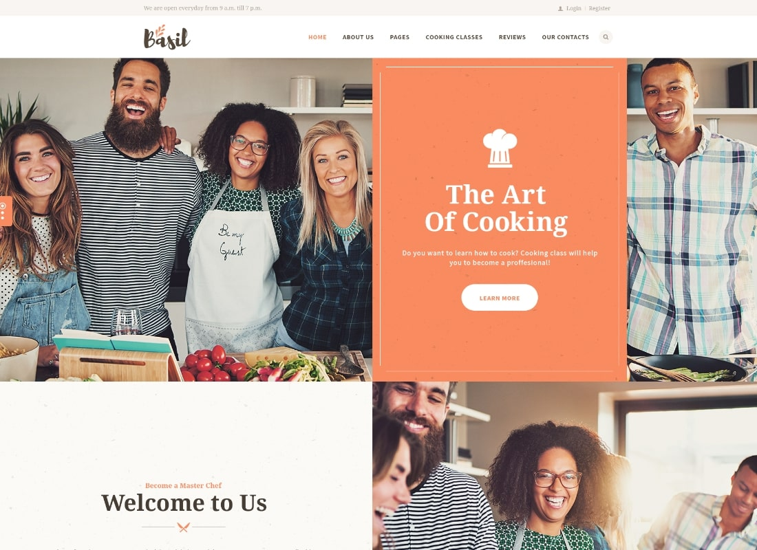 Basil | Cooking Classes and Workshops WordPress Theme Website Template