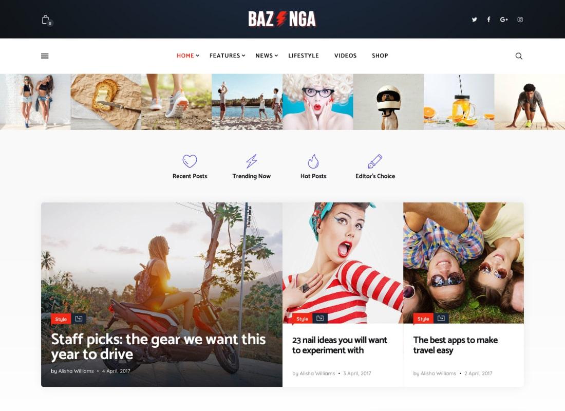 Bazinga   Modern Magazine & Viral Blog WordPress Theme Website Template