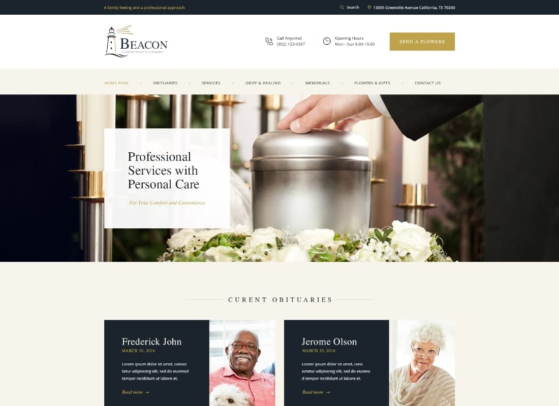 Beacon | Funeral Home Services & Cremation Parlor WordPress Theme Website Template