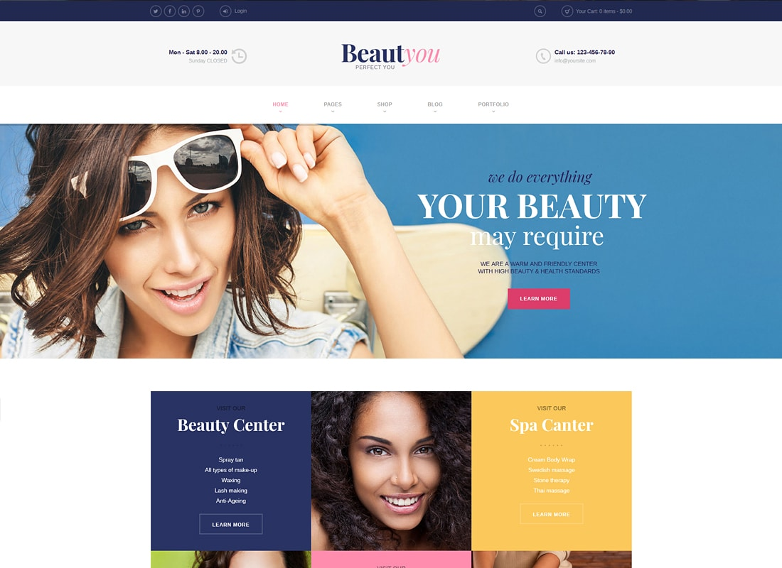Beauty, Hair & Spa Salon WordPress Theme   Website Template