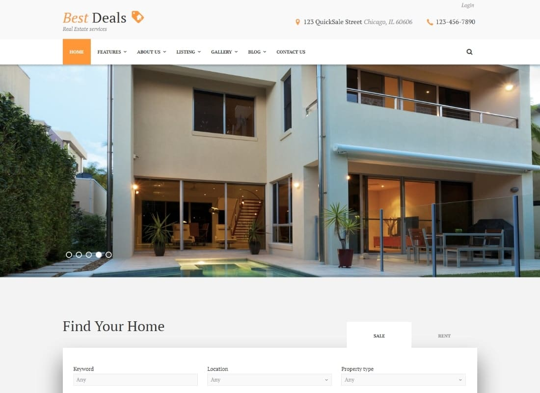 Best Deals - A Modern Property Sales & Rental WordPress Theme Website Template