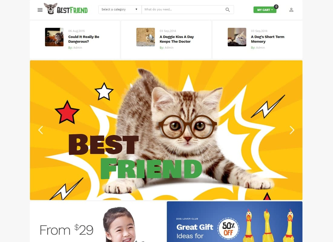 Bestfriend - Pet Shop WordPress WooCommerce Theme Website Template