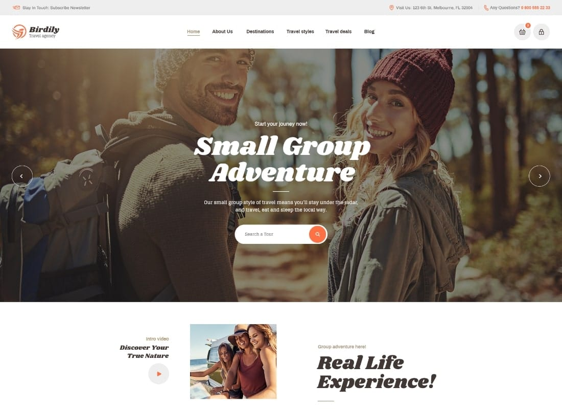 Birdily | Travel Agency & Tour Booking WordPress Theme Website Template