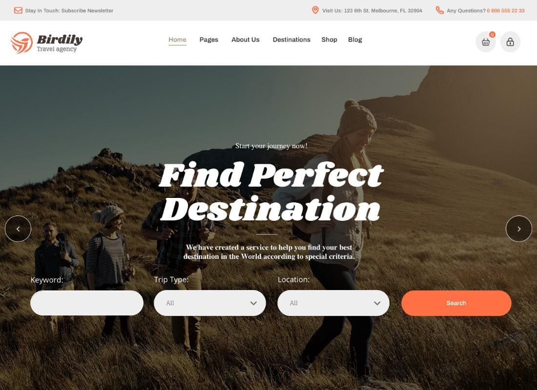Birdily   Travel Agency & Tour Booking WordPress Theme Website Template