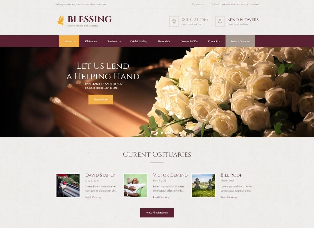 Blessing | Funeral Home Services & Cremation Parlor WordPress Theme Website Template