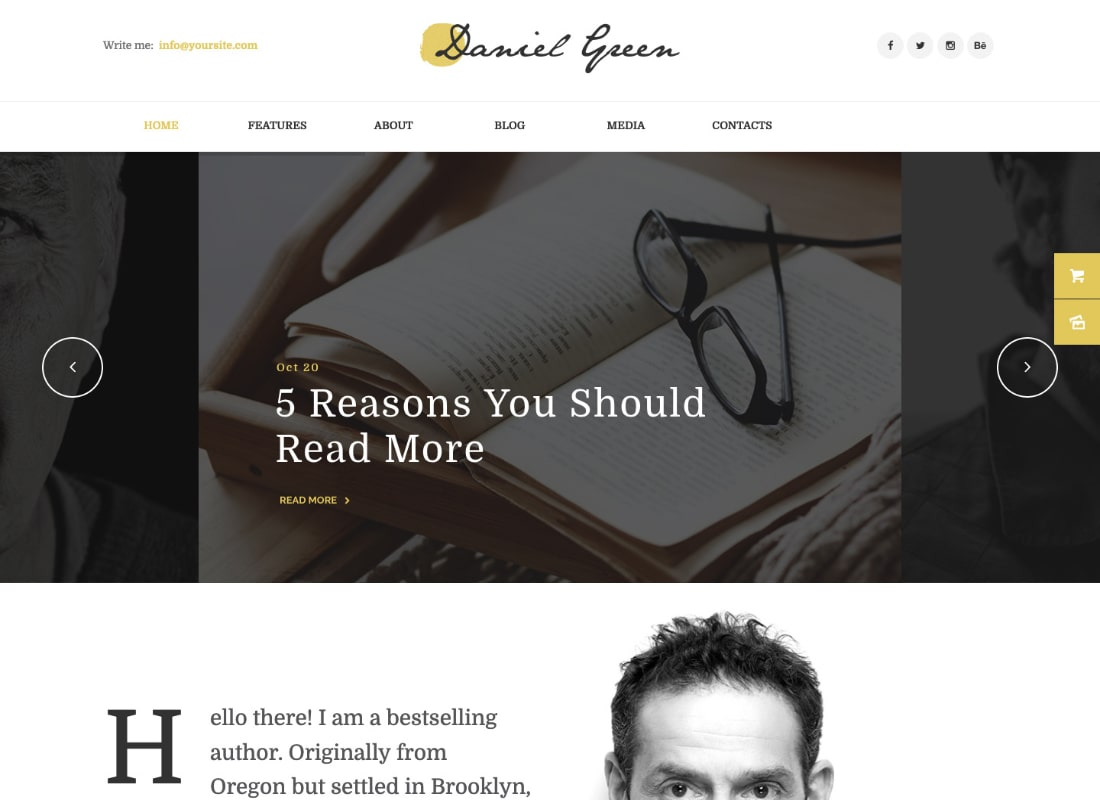 Daniel Green | Blog for Writers and Journalists With Bookstore WordPress Theme Website Template