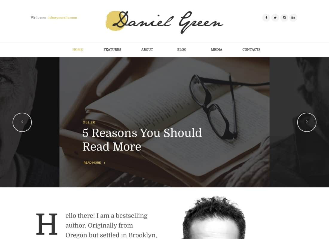 Blog for Writers and Journalists With Bookstore WordPress Theme Website Template