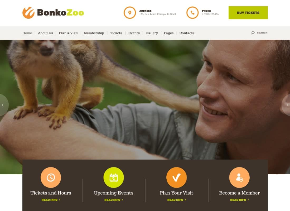 Bonko | Safari & Zoo WordPress Theme Website Template