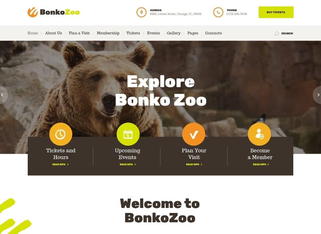 Bonko | Safari & Zoo WordPress Theme Website Template
