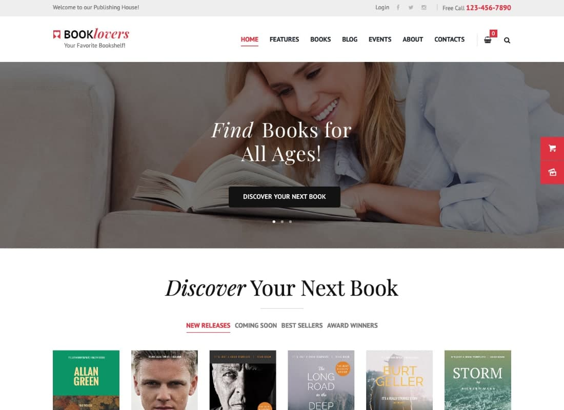 Booklovers - Publishing House & Book Store WordPress Theme Website Template