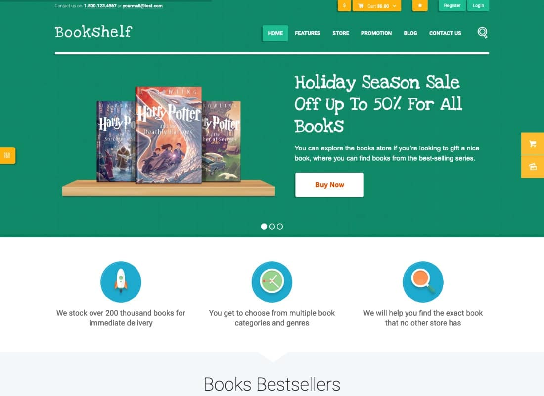 Bookshelf | Books & Media Online Store WordPress Theme Website Template