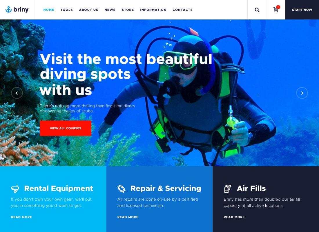 Briny | Scuba Diving School & Water Sports WordPress Theme Website Template