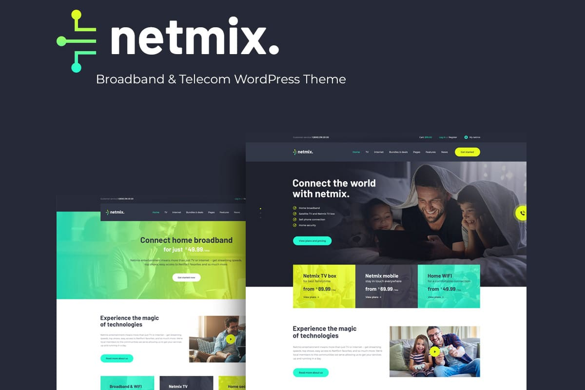 Netmix | Broadband & Telecom WordPress Theme Website Template