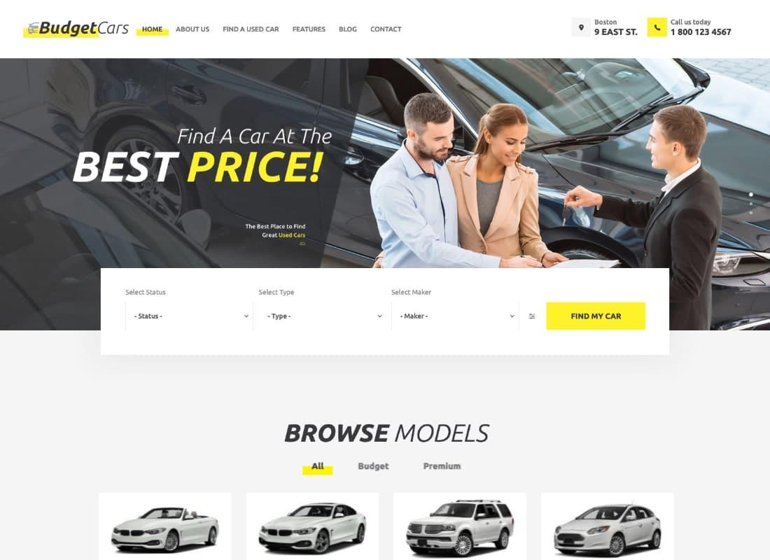 Budget Cars | Used Car Dealer & Rental WordPress Theme + Store Website Template