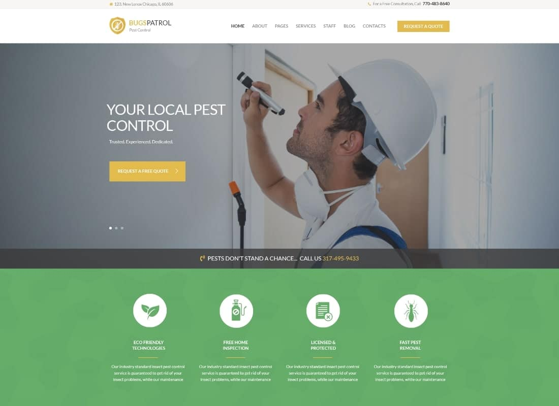 BugsPatrol - Pest & Insects Control Disinsection Services WordPress Theme Website Template