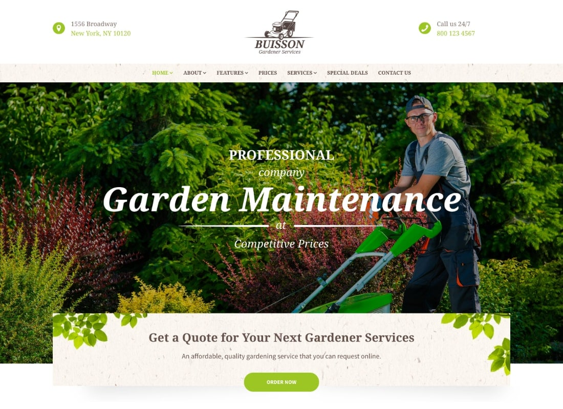 Buisson | Gardening WordPress Theme Website Template