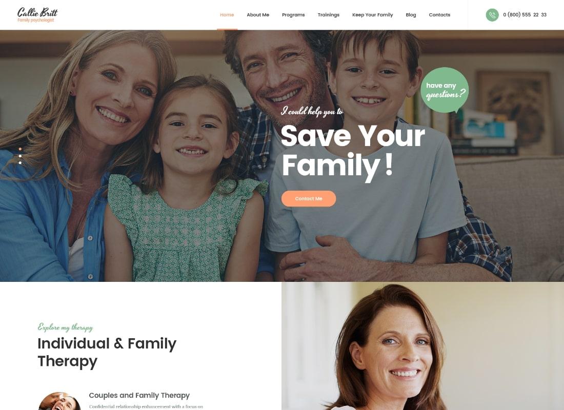 Callie Britt | Family Counselling Psychology WordPress Theme Website Template