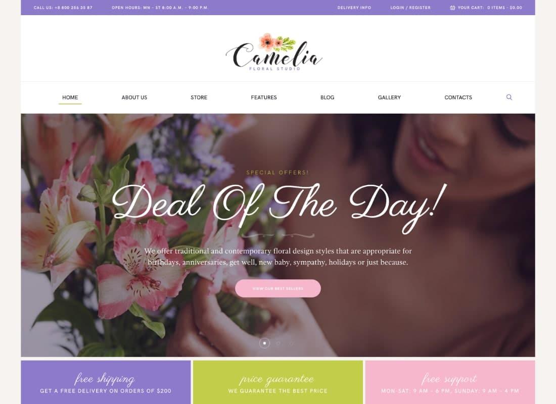 Camelia | A Floral Studio Florist WordPress Theme Website Template