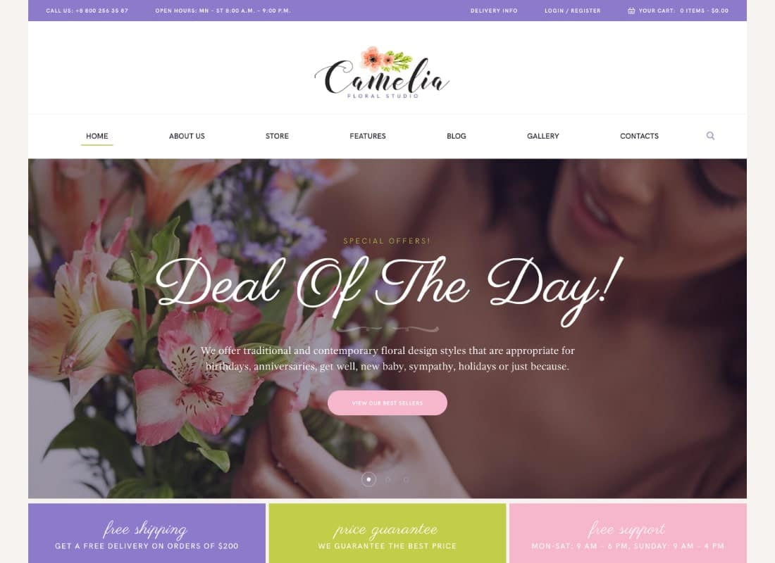 Camelia | A Floral Studio Florist WordPress Theme Website Template
