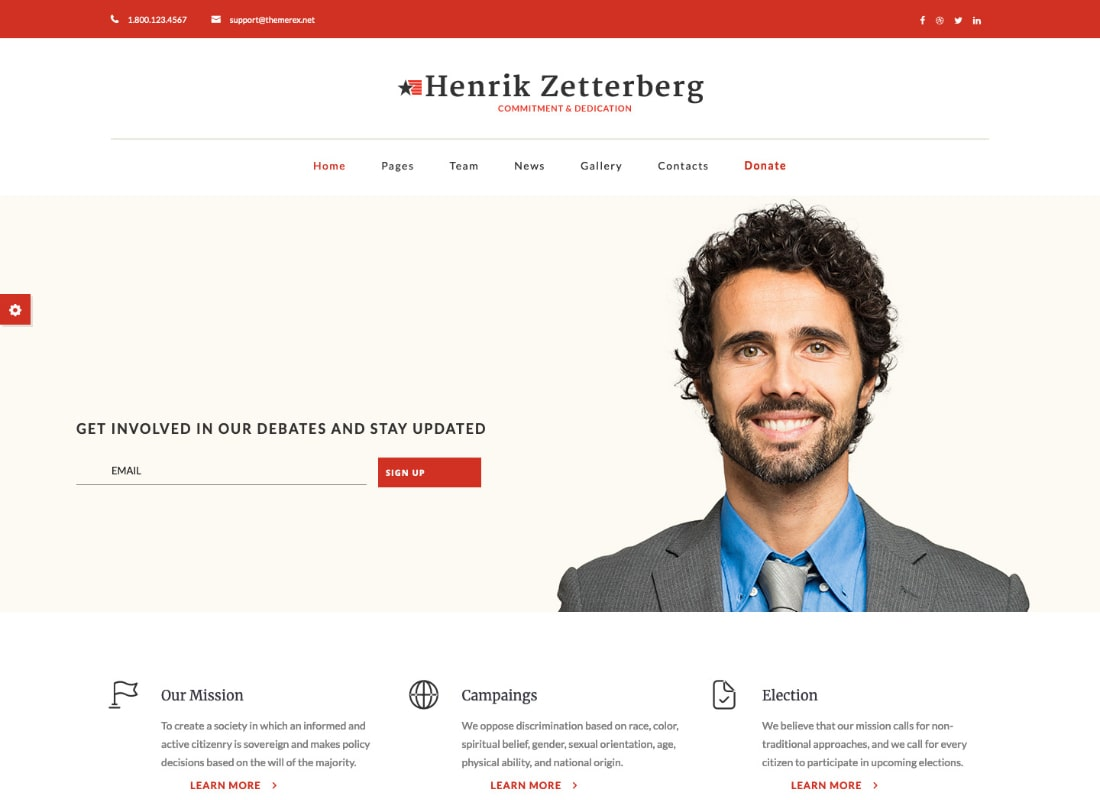 Candidate - Political / Non-profit WordPress Theme Website Template