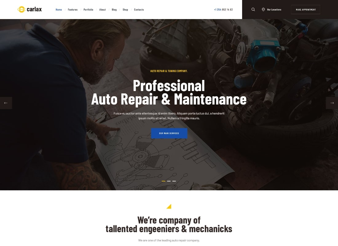 Carlax | Car Parts Store & Auto Service WordPress Theme Website Template