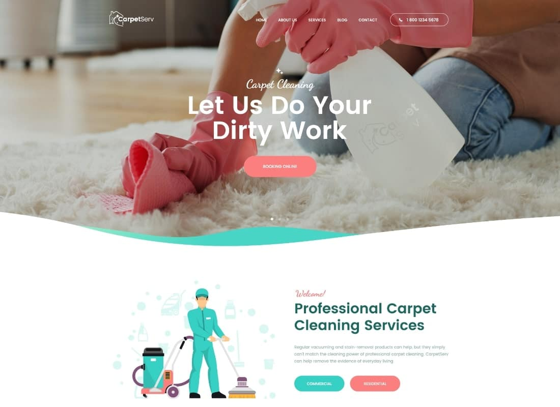 CarpetServ | Cleaning Company, Housekeeping & Janitorial Services PSD Template Website Template