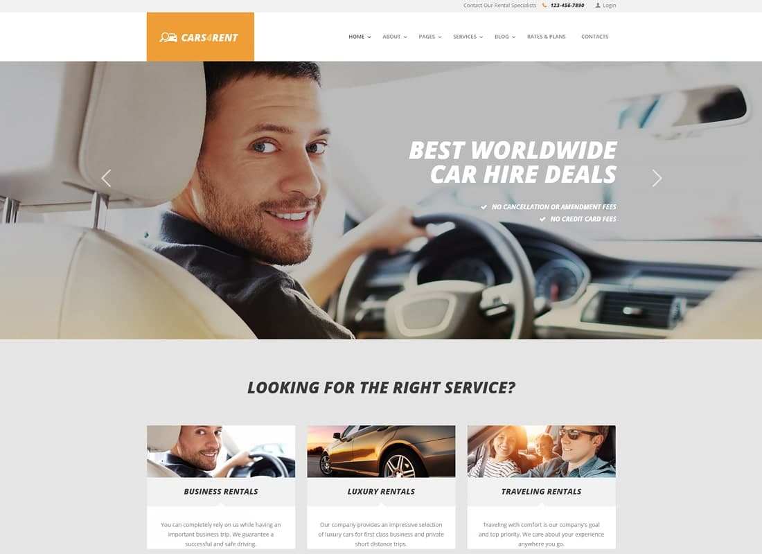 Cars4Rent | Auto Rental & Taxi Service WordPress Theme Website Template
