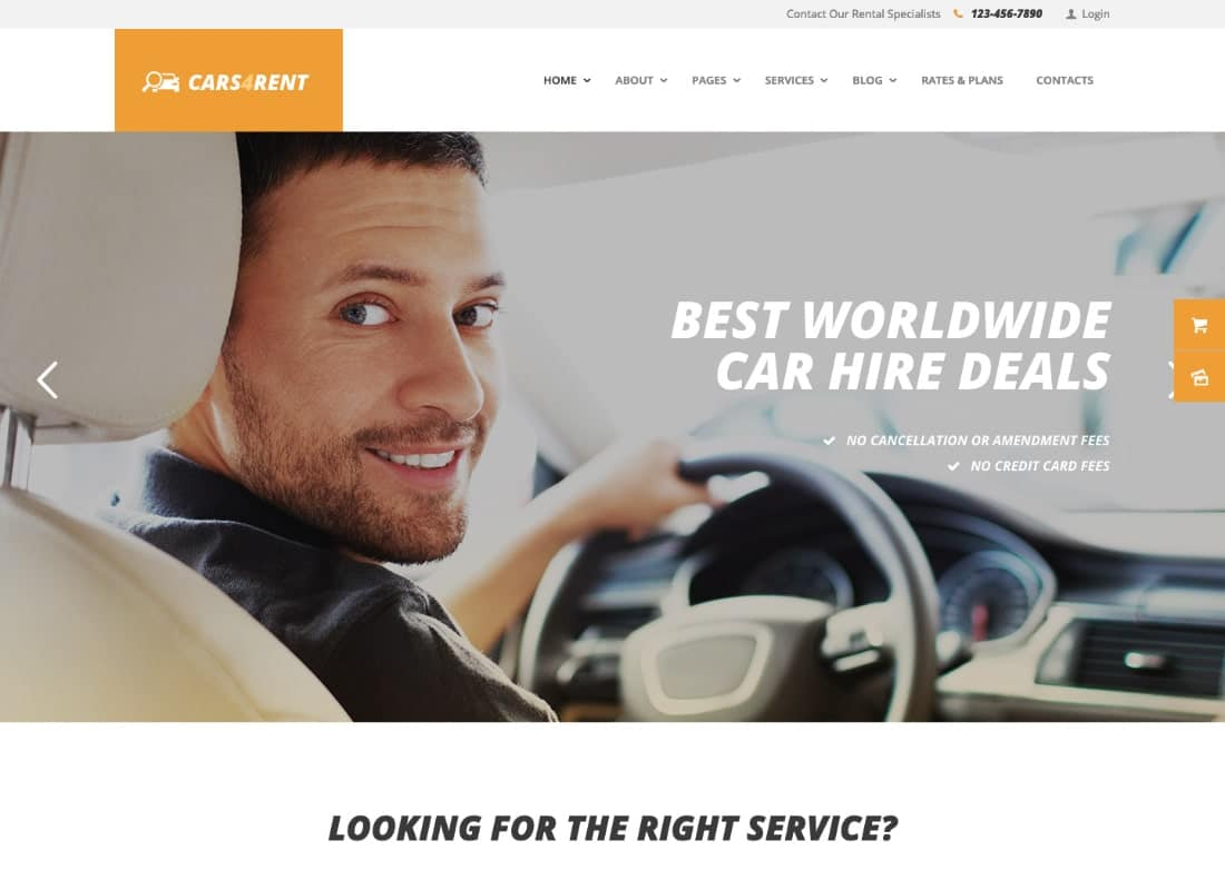 Cars4Rent | Car Rental & Taxi Service WordPress Theme Website Template