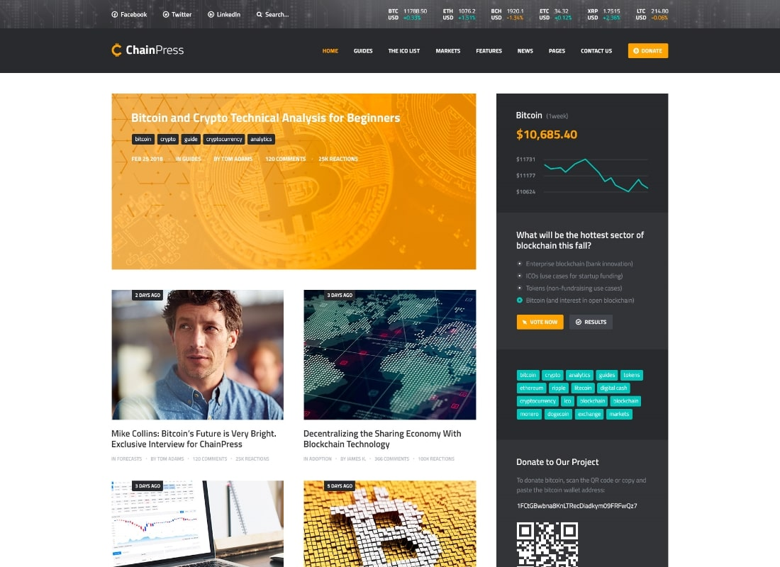 ChainPress | Financial Business Blog PSD Template Website Template
