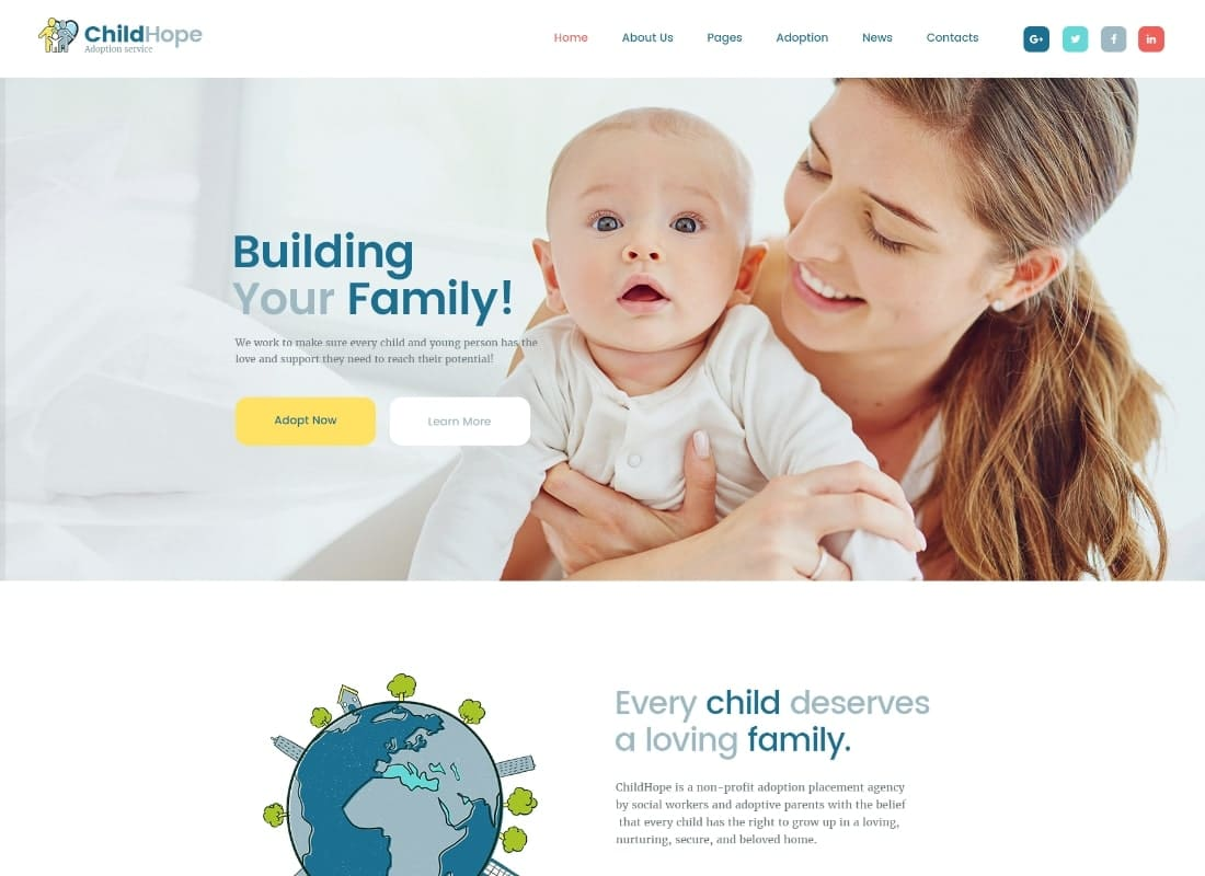 ChildHope | Child Adoption Service & Charity Nonprofit WordPress Theme Website Template