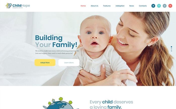 ChildHope | Child Adoption Service & Charity WordPress Theme Website Template