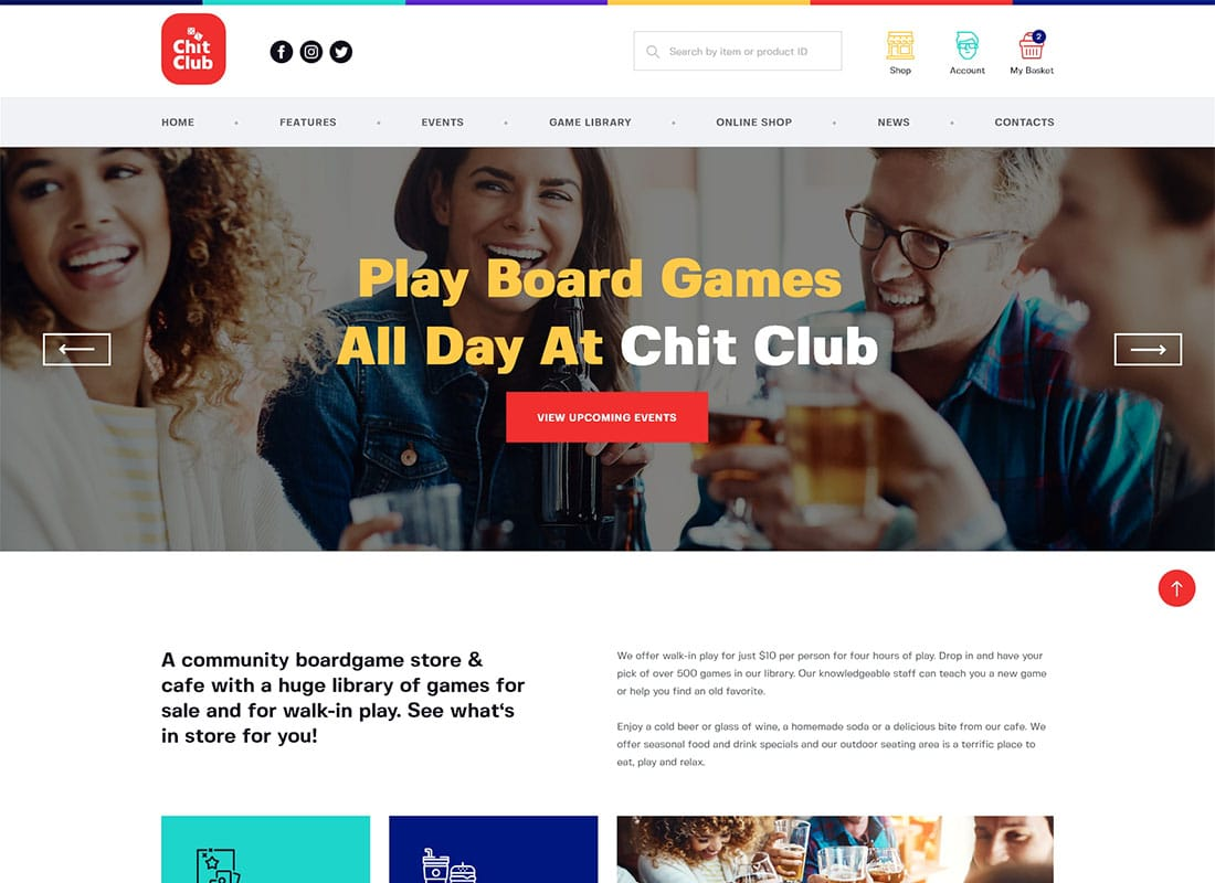 Chit Club | Board Games Club & Anticafe WordPress Theme Website Template