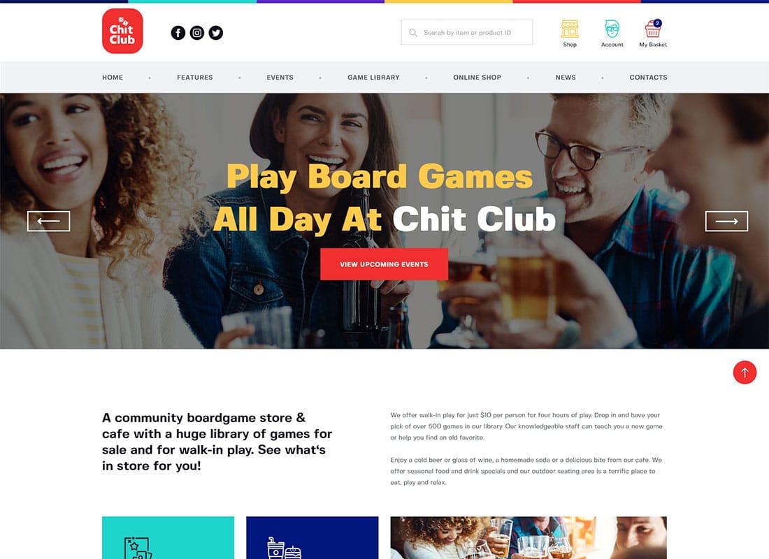 Chit Club | Board Games Bar & Anticafe WordPress Theme Website Template