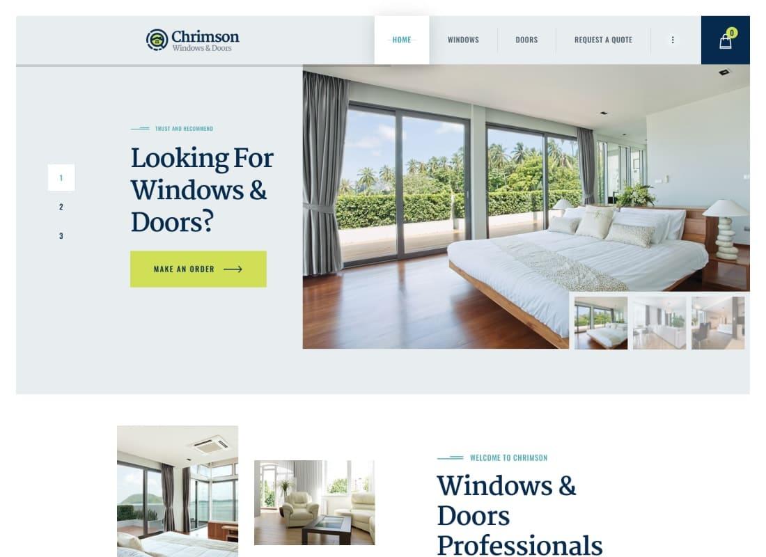 Chrimson | Windows & Doors Services + Store WordPress Theme Website Template