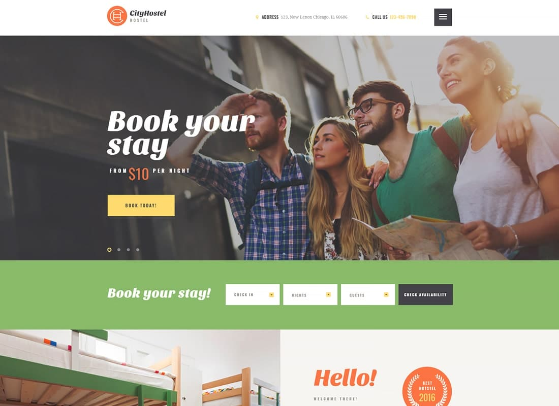 City Hostel | A Travel & Hotel Booking WordPress Theme Website Template