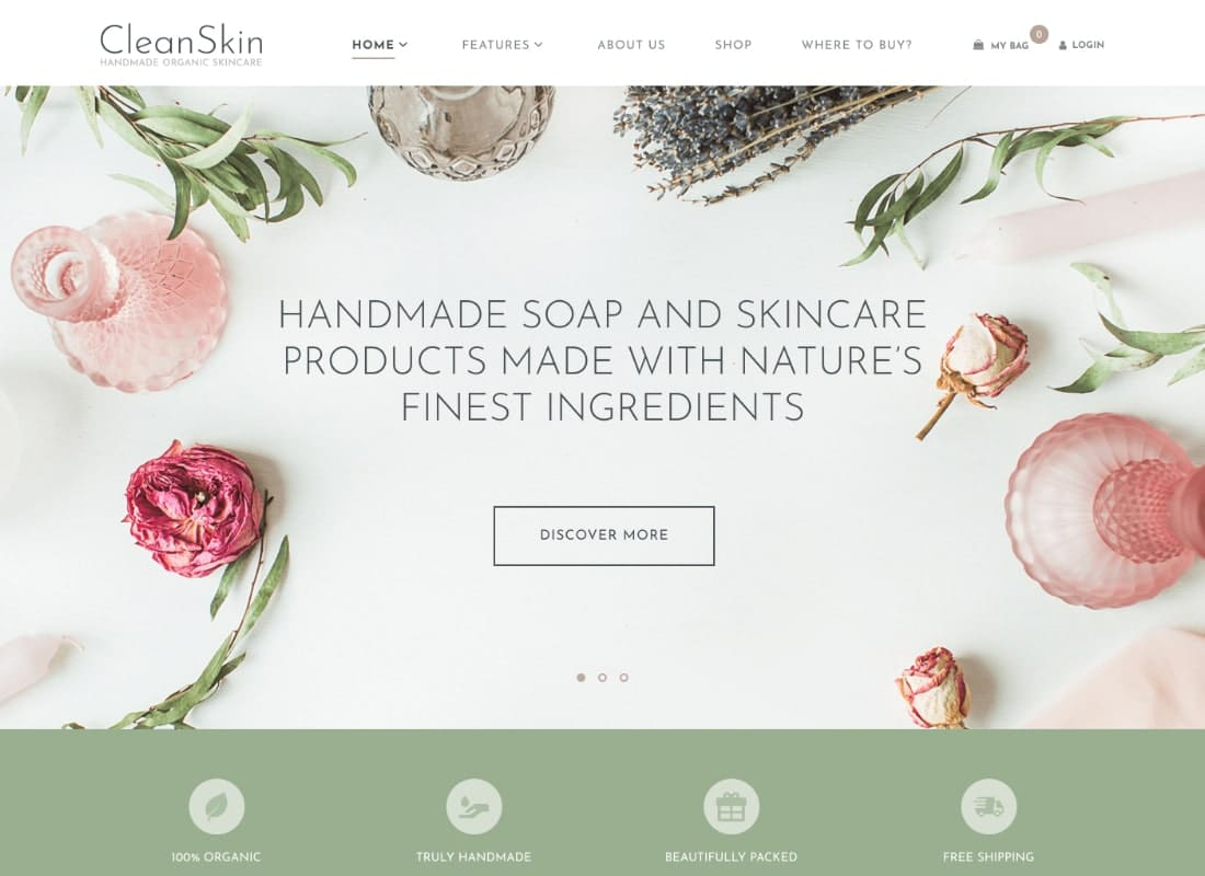 CleanSkin | Handmade Organic Soap & Natural Cosmetics Shop WordPress Theme Website Template