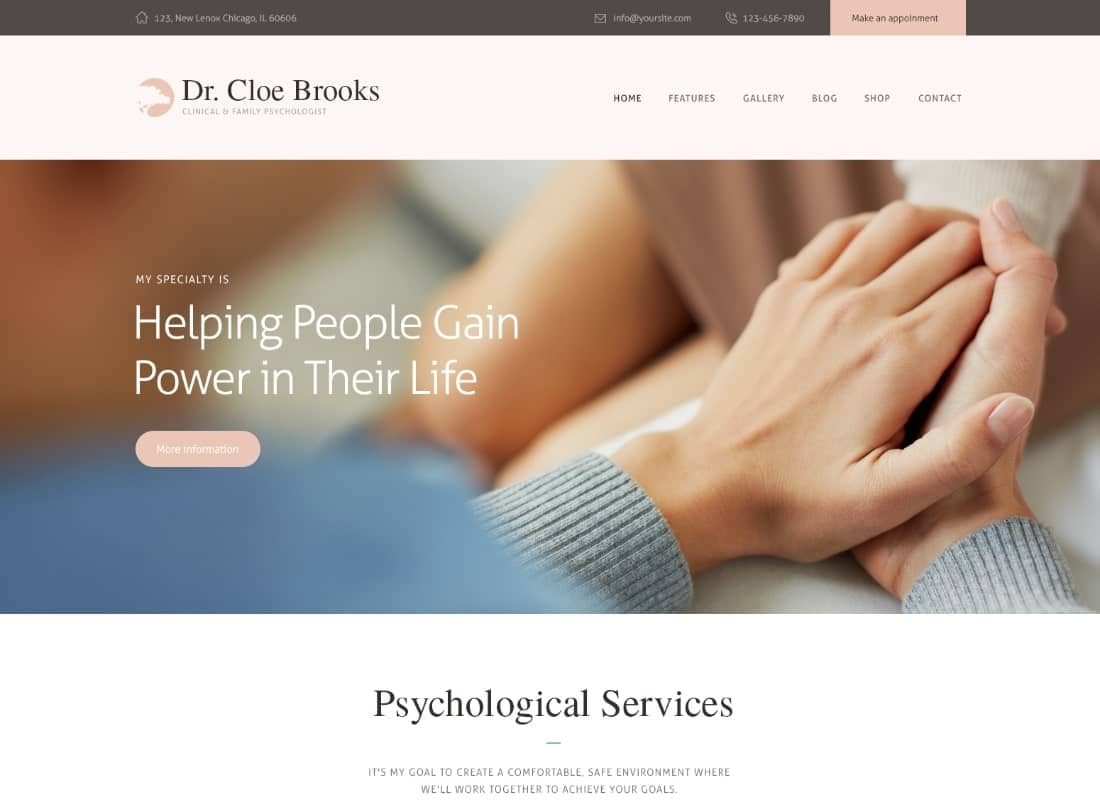 Cloe Brooks | Psychology, Counseling & Medical WordPress Theme + RTL Website Template