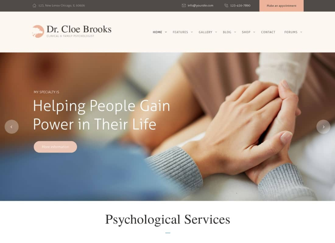 Cloe Brooks | Psychology, Counseling & Medical WordPress Theme + RTL Website Template