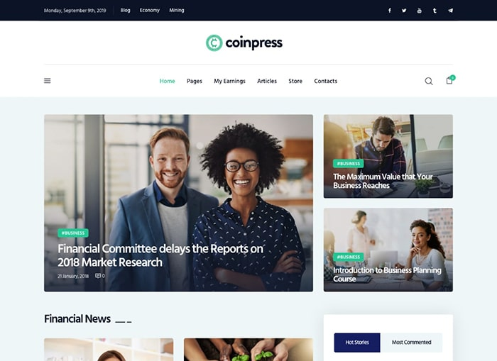 Coinpress | ICO Cryptocurrency Magazine & Blog WordPress Theme Website Template