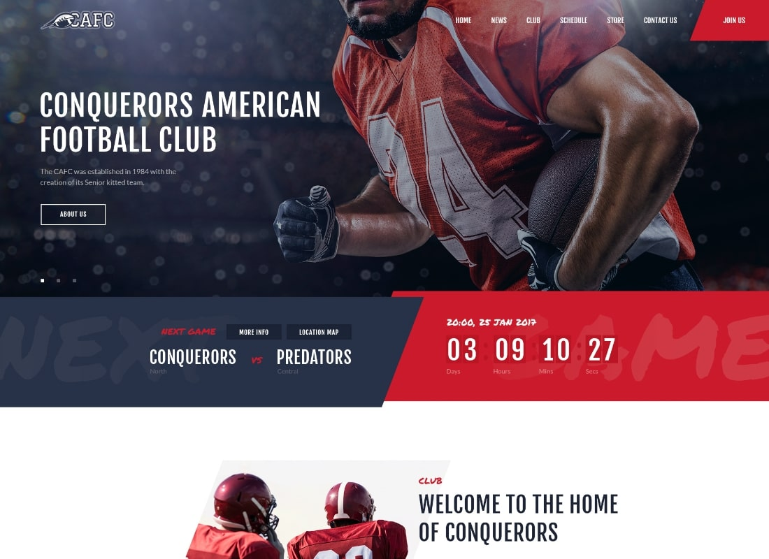 Conquerors | American Football Club WordPress Theme Website Template